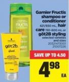 Garnier Fructis Shampoo Or Conditioner - 621/650 Ml - Hair Care - 150-600 Ml Or Göt2b Styling