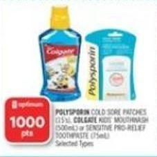 Polysporin Cold Sore Patches (15's) - Colgate Kids' Mouthwash (500ml) or Sensitive Pro-relief Toothpaste (75ml)
