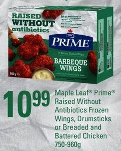 Maple Leaf Prime Raised Without Antibiotics Frozen Wings - Drumsticks Or Breaded And Battered Chicken - 750-960g