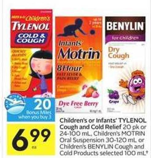 Children's or Infants' Tylenol Cough and Cold Relief - 20 Air Miles Bonus Miles