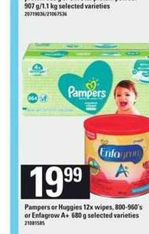 Pampers Or Huggies 12x Wipes 800-960's Or Enfagrow A+ 680 G