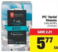 PC Facial Tissues - 3-ply - 6x78's