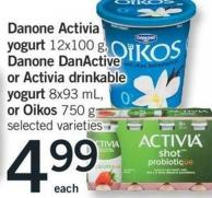 Danone Activia Yogurt - 12x100 G - Danone Danactive Or Activia Drinkable Yogurt - 8x93 Ml - Or Oikos - 750 G