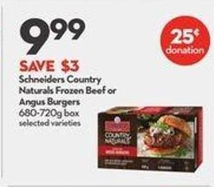 Schneiders Country Naturals Frozen Beef or Angus Burgers