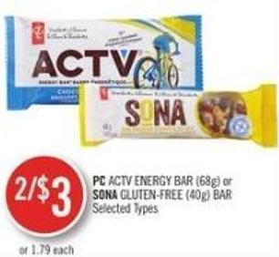 PC Active Energy Bar (68g) or Sona Gluten-free (40g) Bar