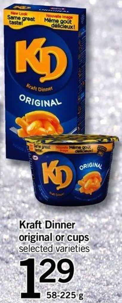 Kraft Dinner Original Or Cups - 58-225 G