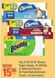 Bounty Paper Towels - 12=18 Rolls or Selected Charmin 24 Triple Rolls Bathroom Tissue