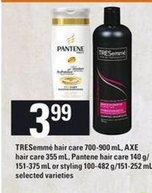 Tresemmé Hair Care - 700-900 Ml - Axe Hair Care - 355 Ml - Pantene Hair Care - 140 G/ 151-375 Ml Or Styling - 100-482 G/151-252 Ml