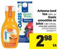 Arizona Iced Tea 1.65 L Or Oasis Smoothie Or Juice 1.36-1.75 Ml