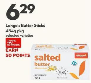 Longo's Butter Sticks 454g Pkg