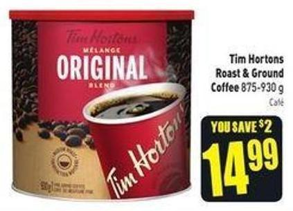 Tim Hortons Roast & Ground Coffee 875-930 g