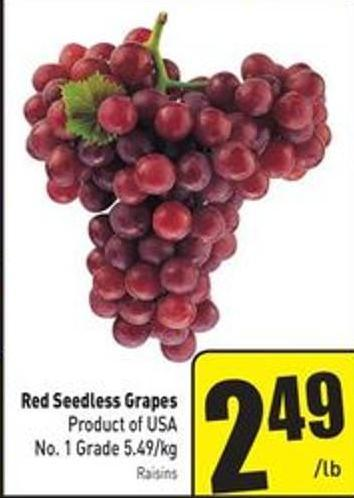 Red Seedless Grapes Product of USA No. 1 Grade 5.49/kg