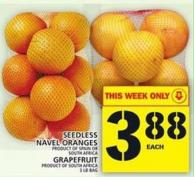 Seedless Navel Oranges Or Grapefruit