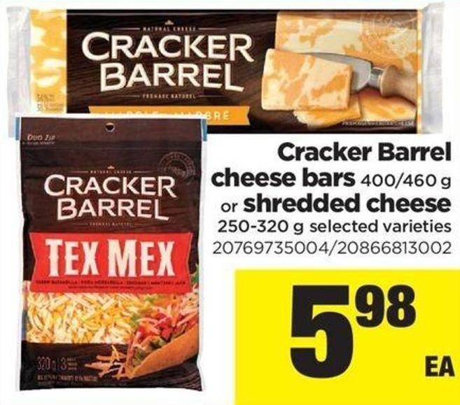 Cracker Barrel Cheese Bars - 400/460 G Or Shredded Cheese - 250-320 G