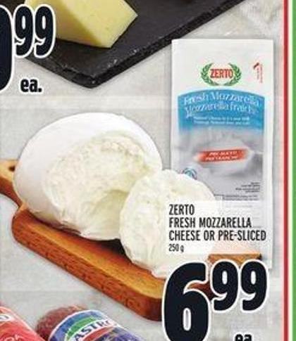 Zerto Fresh Mozzarella Cheese or Pre-sliced