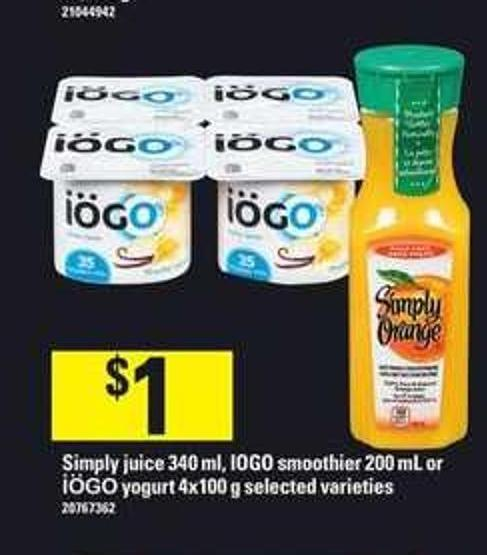 Simply Juice 340 Ml - IOGO Smoothier 200 Ml Or Iögo Yogurt 4x100 G