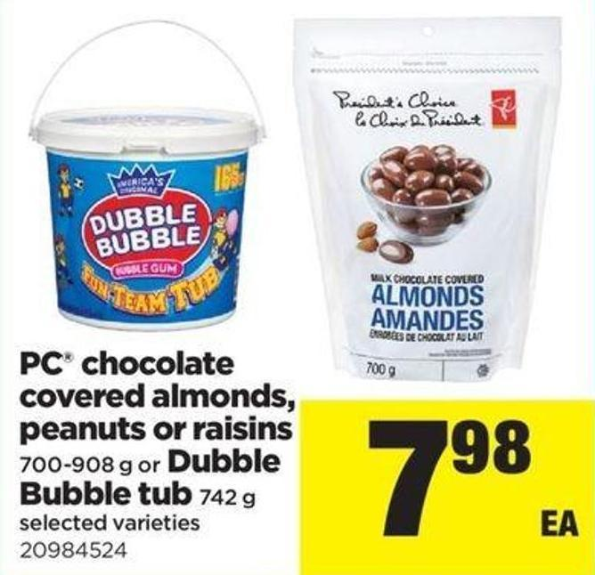 PC Chocolate Covered Almonds - Peanuts Or Raisins - 700-908 G Or Dubble Bubble Tub - 742 G