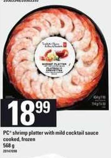 PC Shrimp Platter With Mild Cocktail Sauce Cooked.568 G