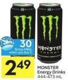 Monster Energy Drinks 444-473 mL - 30 - Air Miles Bonus Miles