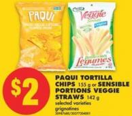 Paqui Tortilla Chips - 155 g or Sensible Portions Veggie Straws - 142 g