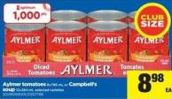 Aylmer Tomatoes - 8x796 Ml Or Campbell's Soup - 12x284 Ml