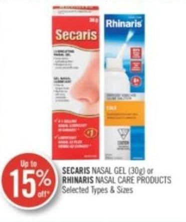 Secaris Nasal Gel (30g) or Rhinaris Care Products
