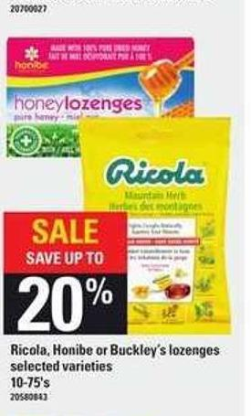 Ricola - Honibe Or Buckley's Lozenges - 10-75's