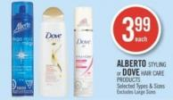 Alberto Styling or Dove Hair Care Products