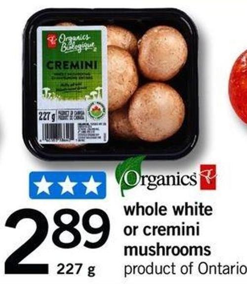 Whole White Or Cremini Mushrooms - 227 G
