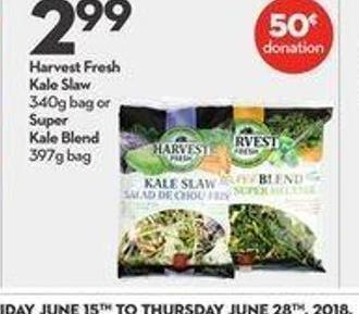 Harvest Fresh Kale Slaw 340g Bag or Super Kale Blend 397g Bag