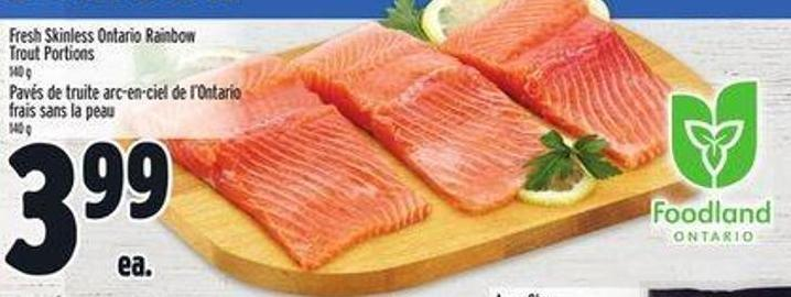 Seafood Fresh Skinless Ontario Rainbow Trout Portions