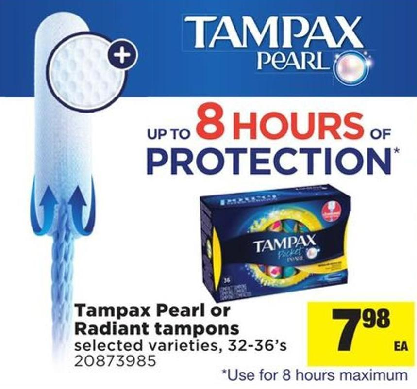 Tampax Pearl Or Radiant Tampons - 32-36's