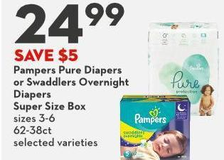 Pampers Pure Diapers  or Swaddlers Overnight  Diapers Super Size Box Sizes 3-6 62-38ct