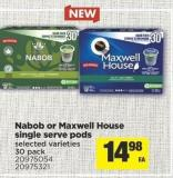Nabob Or Maxwell House Single Serve PODS - 30 Pack