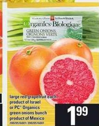 Large Red Grapefruit Each - Or PC Organics Green Onions Bunch