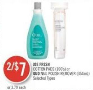 Joe Fresh Cotton Pads (100's) or Quo Nail Polish Remover (354ml)