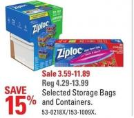 Ziploc Selected Storage Bags and Containers