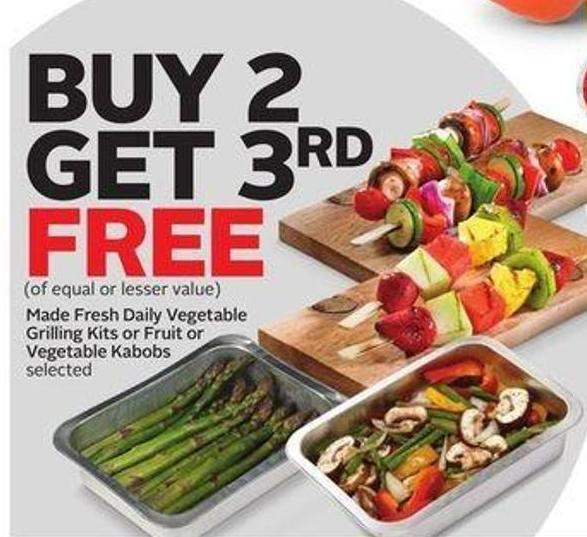 Made Fresh Daily Vegetable Grilling Kits or Fruit or Vegetable Kabobs