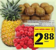 Raspberries Or Goldenberries Or Kiwi Or Golden Ripe Pineapple