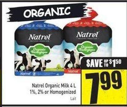 Natrel Organic Milk 4 L 1% - 2% or Homogenized