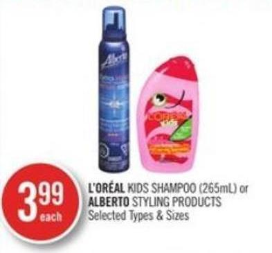 L'oréal Kids Shampoo (265ml) or Alberto Styling Products