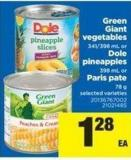 Green Giant Vegetables - 341/398 Ml Or Dole Pineapples - 398 Ml Or Paris Pate - 78 G