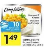 Compliments Frozen Entrées Selected 255-284 g - 10 Air Miles Bonus Miles