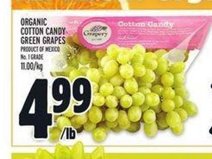 Organic Cotton Candy Green Grapes