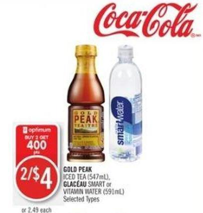 Gold Peak Iced Tea (547ml) - Glaceau Smart or Vitamin Water (591ml)