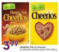 General Mills Cheerios Or Selected Varieties Packs 300-450 g