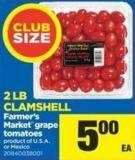 Farmer's Market Grape Tomatoes - 2 Lb Clamshell
