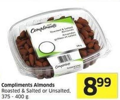 Compliments Almonds Roasted & Salted or Unsalted - 375 - 400 g