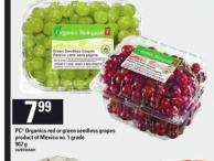 PC Organics Red Or Green Seedless Grapes - 907 g