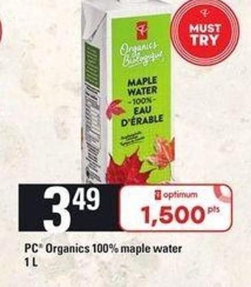 PC Organics 100% Maple Water - 1 L